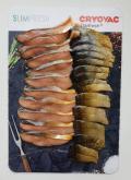 Упаковка кусочков горбуши на подложке запайщики лотков трейсилеры